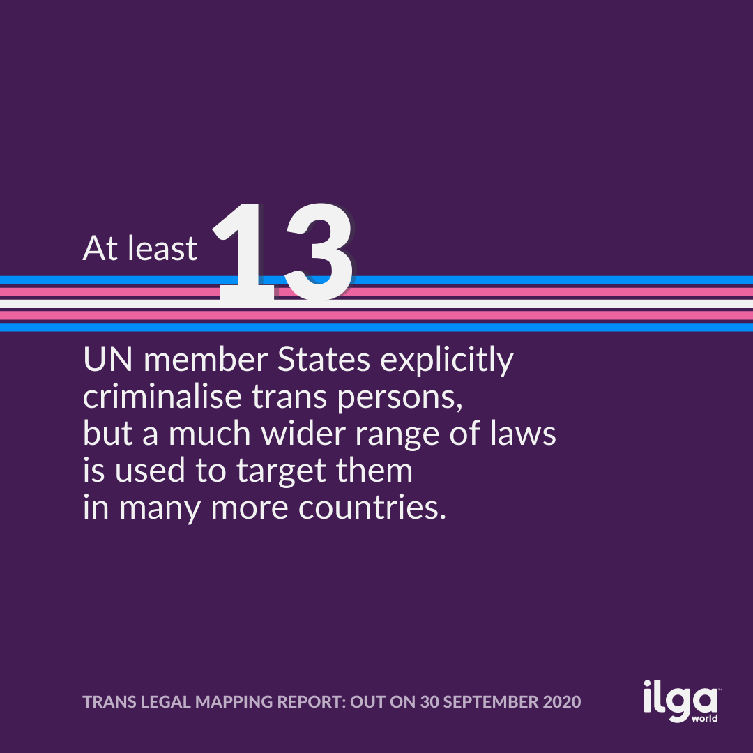 The image reads: At least 13 UN member States explicitly criminalise trans persons, but a much wider range of laws is used to target them in many more countries