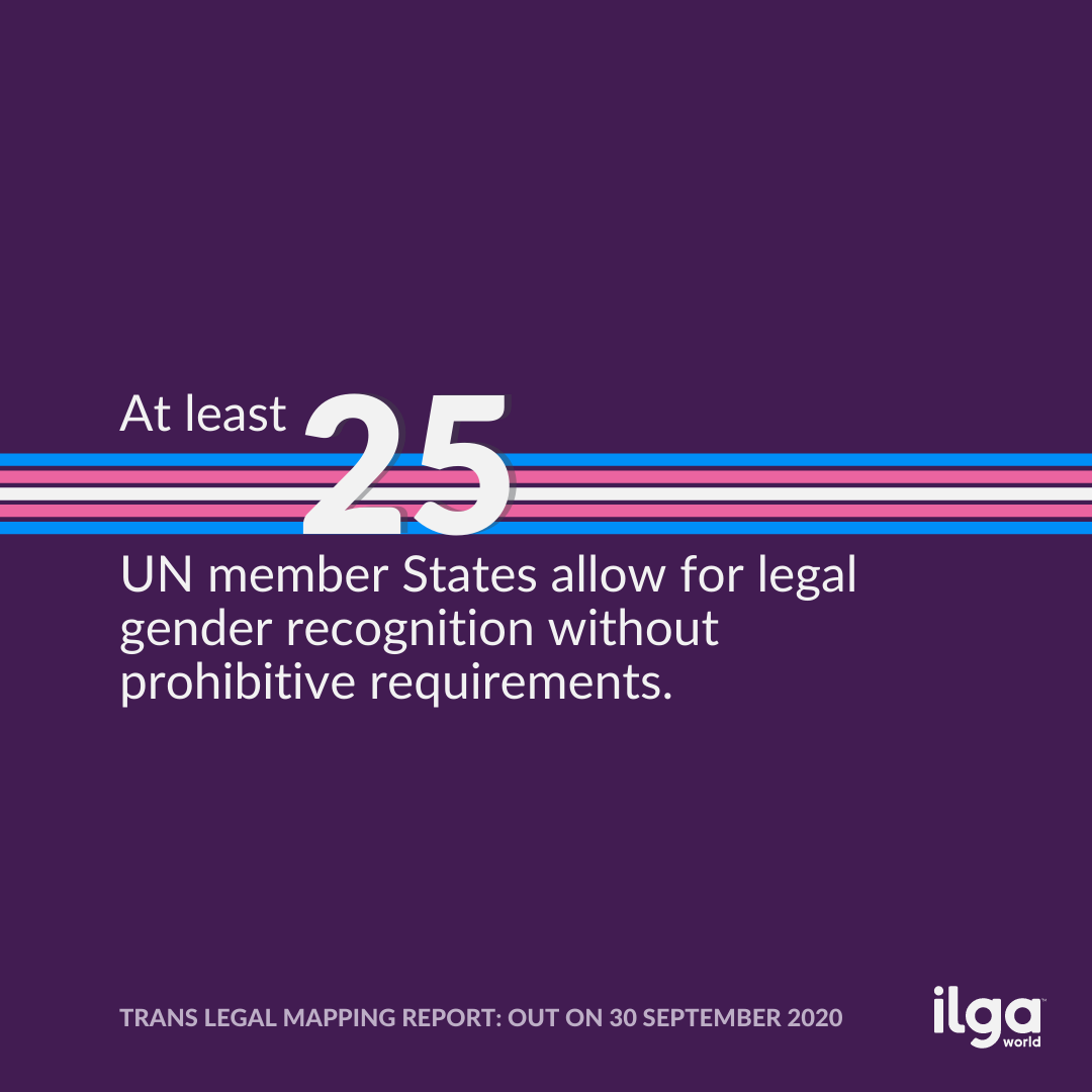 The image reads: At least 25 UN member States allow for legal gender recognition without prohibitive requirements