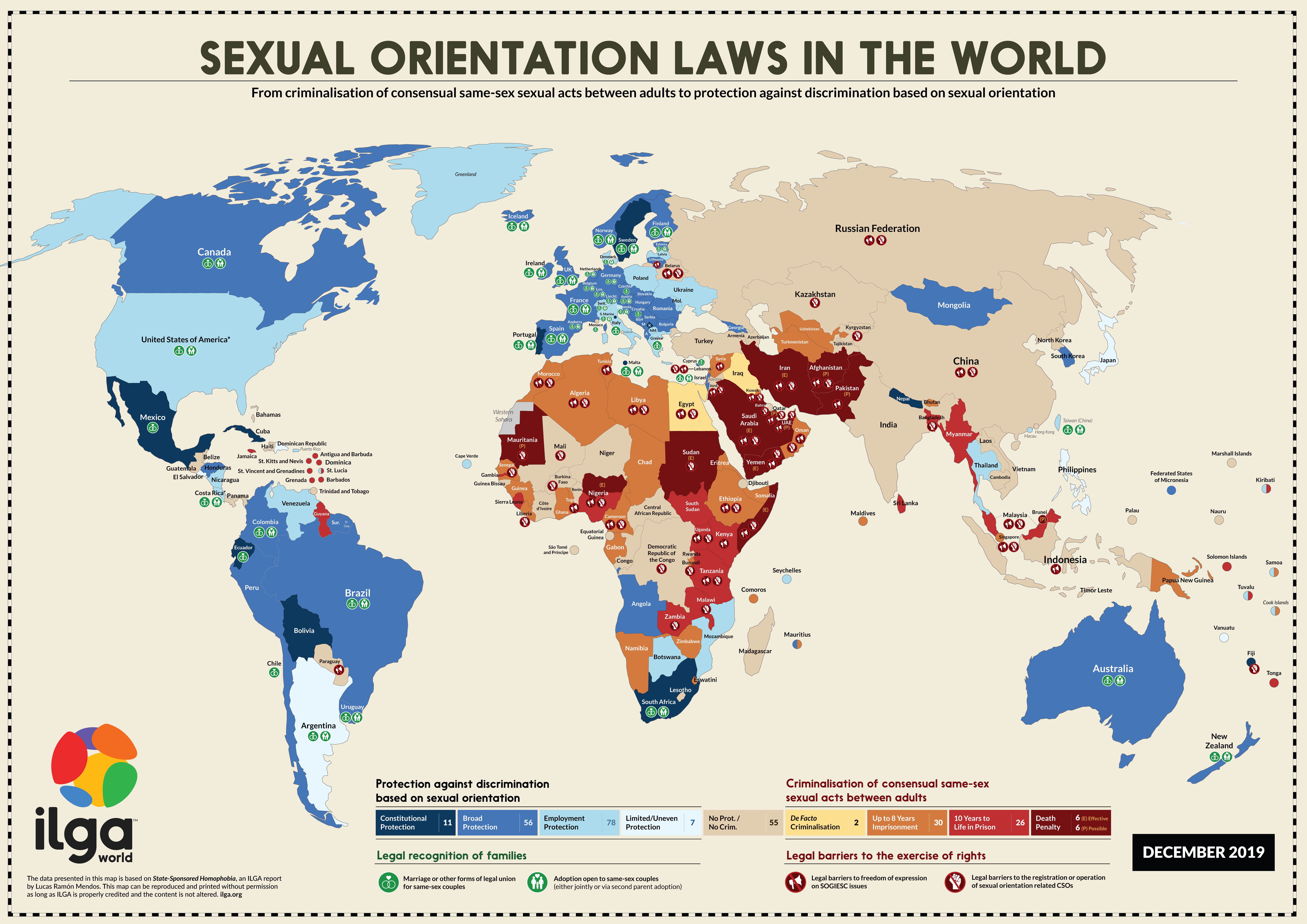 ILGA World's map showing Sexual Orientation Laws in the World