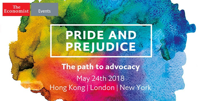 The Economist's Pride and Prejudice event will take place on 24 May 2018 in London, New York and Hong Kong