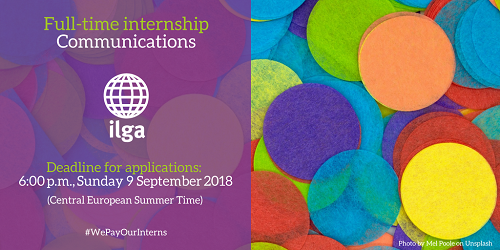 Communications internship opportunity at ILGA! The intern will provide assistance to the Communications team during an historic moment for the organisation, as ILGA will celebrate its 40th anniversary