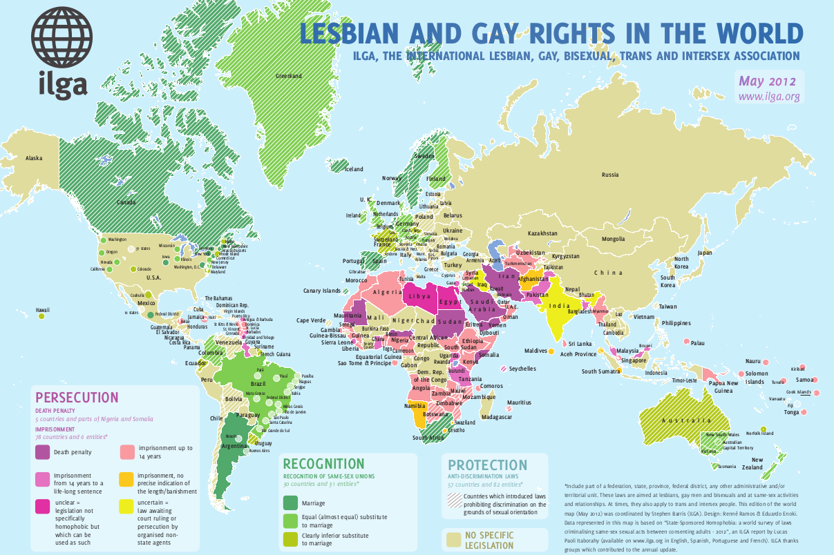 Maps Sexual Orientation Laws ILGA - Wprld map
