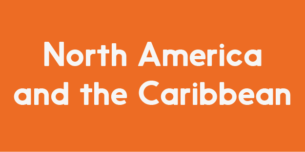 The image has a orange background, and reads North America and the Caribbean in white colour