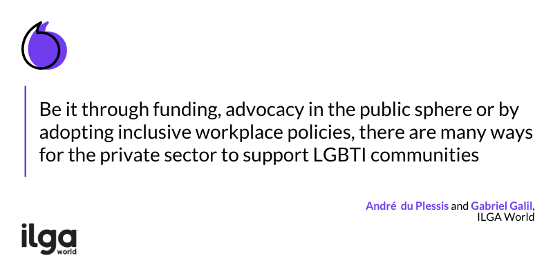 "The image reads: ""Be it through funding, advocacy in the public sphere or by adopting inclusive workplace policies, there are many ways for the private sector to support LGBTI communities"""