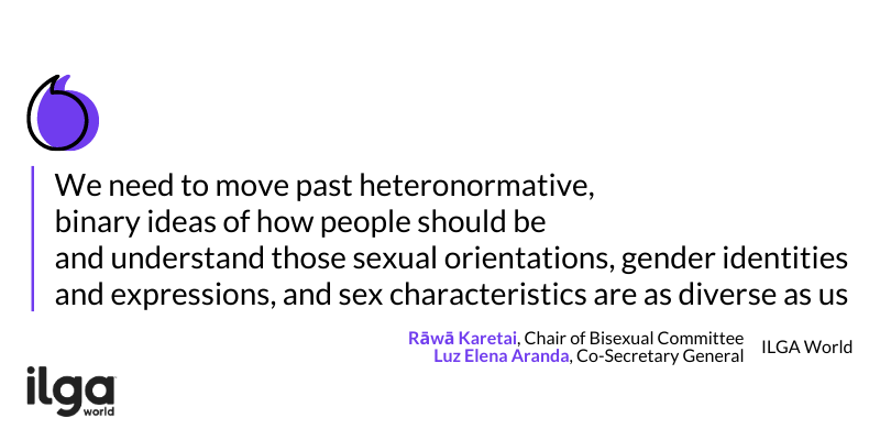 The image reads: We need to move past heteronormative, binary ideas of how people should be and understand thoseSOGIESC are as diverse as us