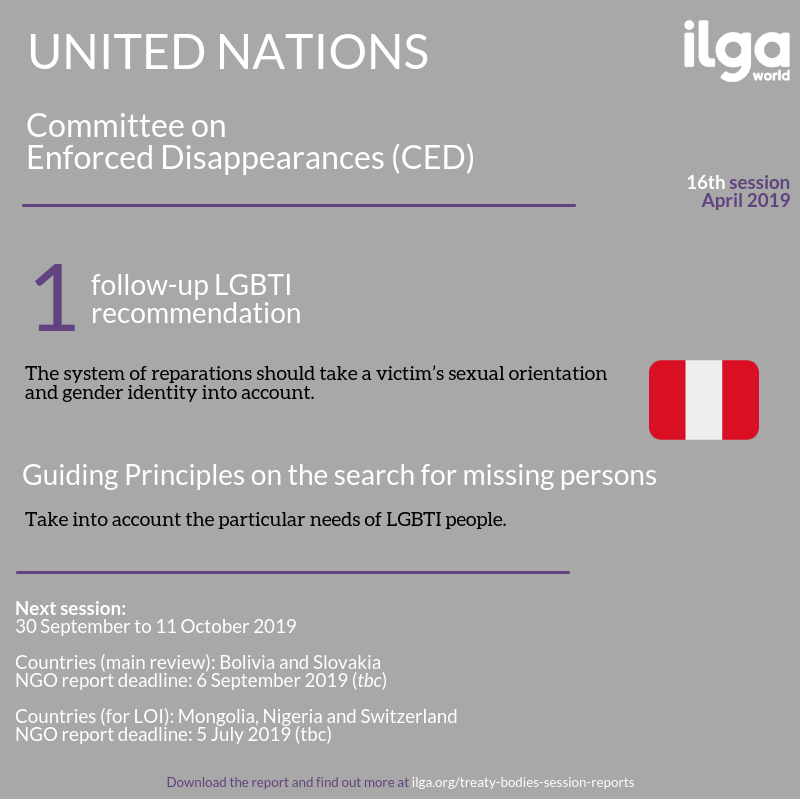 The infographic shows SOGIESC outcomes of the 16th session of the Committee on Enforced Disappearances (CED). Full report at https://ilga.org/downloads/Treaty_Bodies_session_report_CED16.pdf