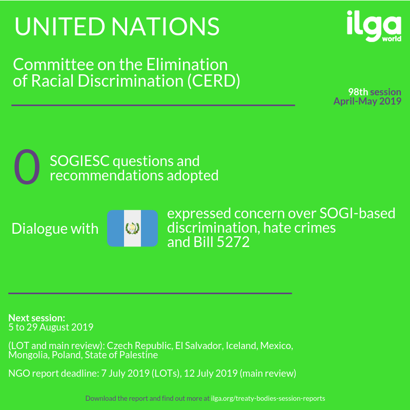 The infographic shows SOGIESC outcomes of the 98th session of the Committee on the Elimination of Racial Discrimination (CERD). Full report at https://ilga.org/downloads/Treaty_Bodies_session_report_CERD98.pdf