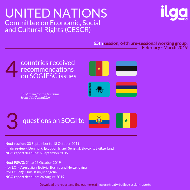 The infographic shows SOGIESC outcomes of the 65th session and the 64th pre-sessional working group of the Committee on Economic, Social and Cultural Rights (CESCR). Full report at https://ilga.org/downloads/Treaty_Bodies_session_report_CESCR_65_PSWG_64.pdf