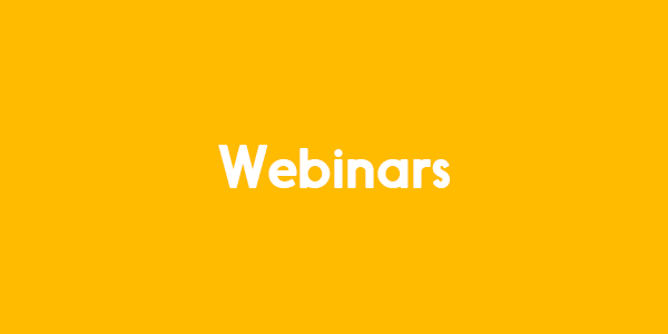 The image has a yellow background, and reads Webinar in white colour