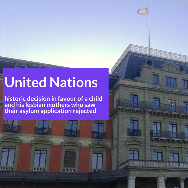 The image shows Palais Wilson in Geneva and reads: United Nations - historic decision in favour of a child and his lesbian mothers who saw their asylum application rejected