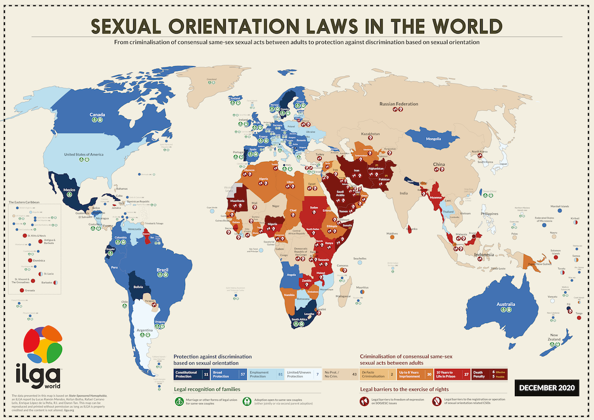 map showing sexual orientation laws in the world