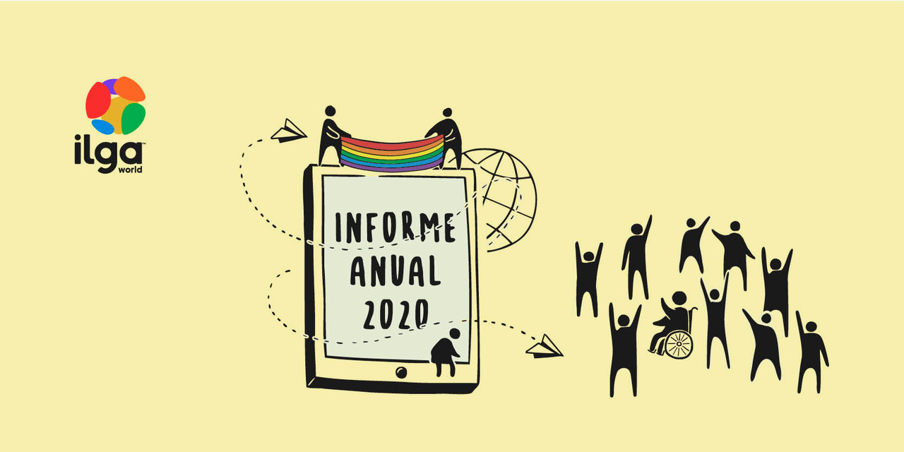 """La ilustración muestra una tableta en la que se lee """"Informe anual 2020"""". Dos personas se han subido a la tableta y muestran una bandera del arco iris, mientras que la gente que está al lado están celebrando"""