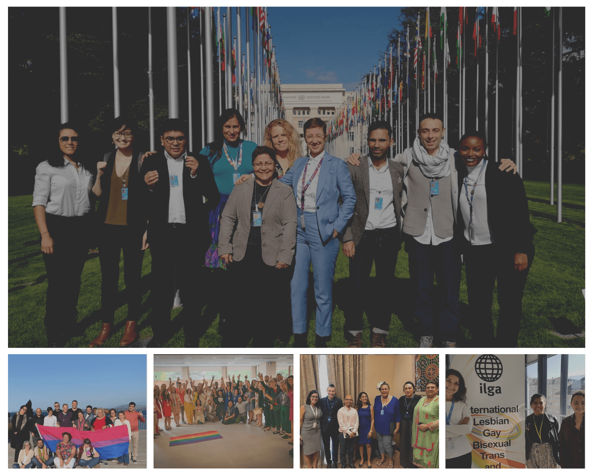 The picture groups together five different photos, showing Activists engaging with ILGA World in 2019