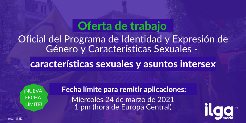 The background photo shows people at a Pride parade with intersex flags. The image reads Job advertisement at ILGA World - GIESC programme officer - sex characteristics and intersex issues