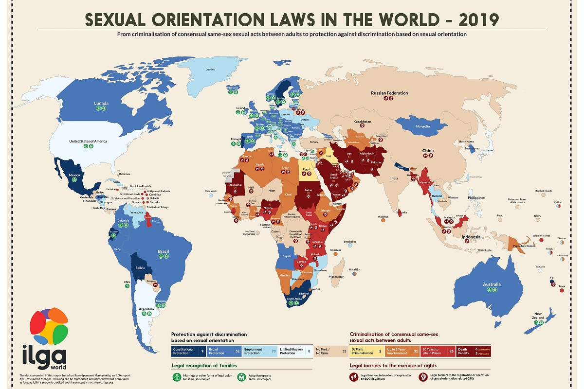 Map Of The World Com.The International Lesbian Gay Bisexual Trans And Intersex