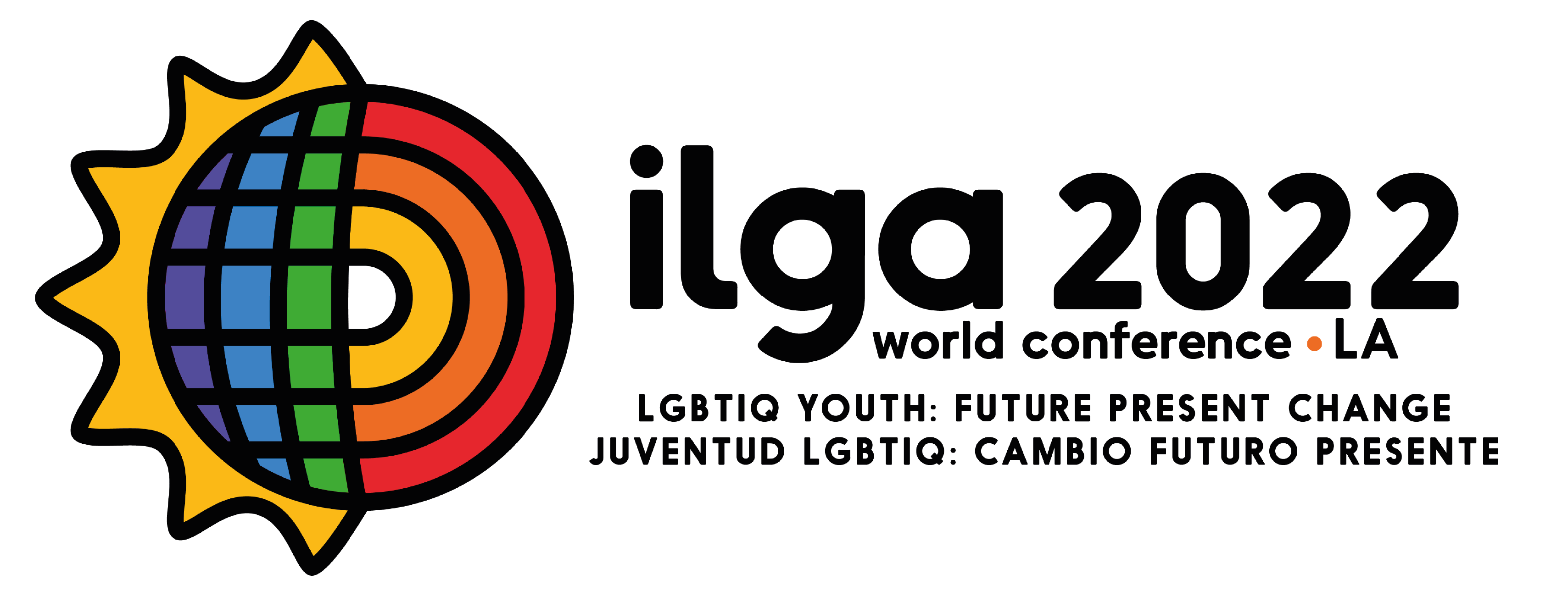 A world in rainbow colours: its left half is lit in flames but can also remind the sun, while the right one has the calmer colours of the rainbow. The image reads: ILGA World Conference 2022 LA: LGBTIQ youth - present future change