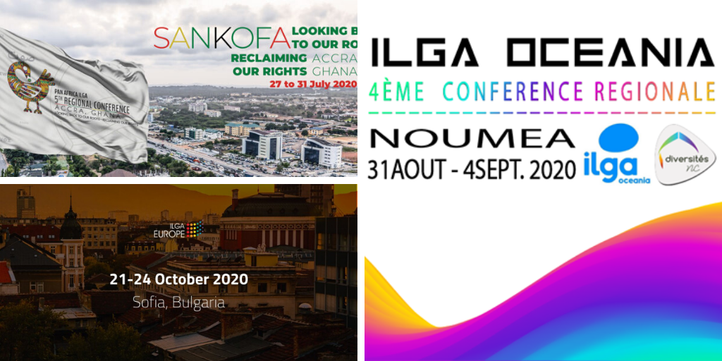 """We see logos and dates for the three ILGA conferences of 2020"""
