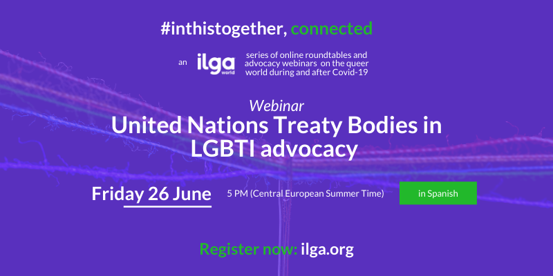 The image shows a rainbow thread, and invites people to attend the webinar on UN Treaty Bodies in LGBTI advocacy