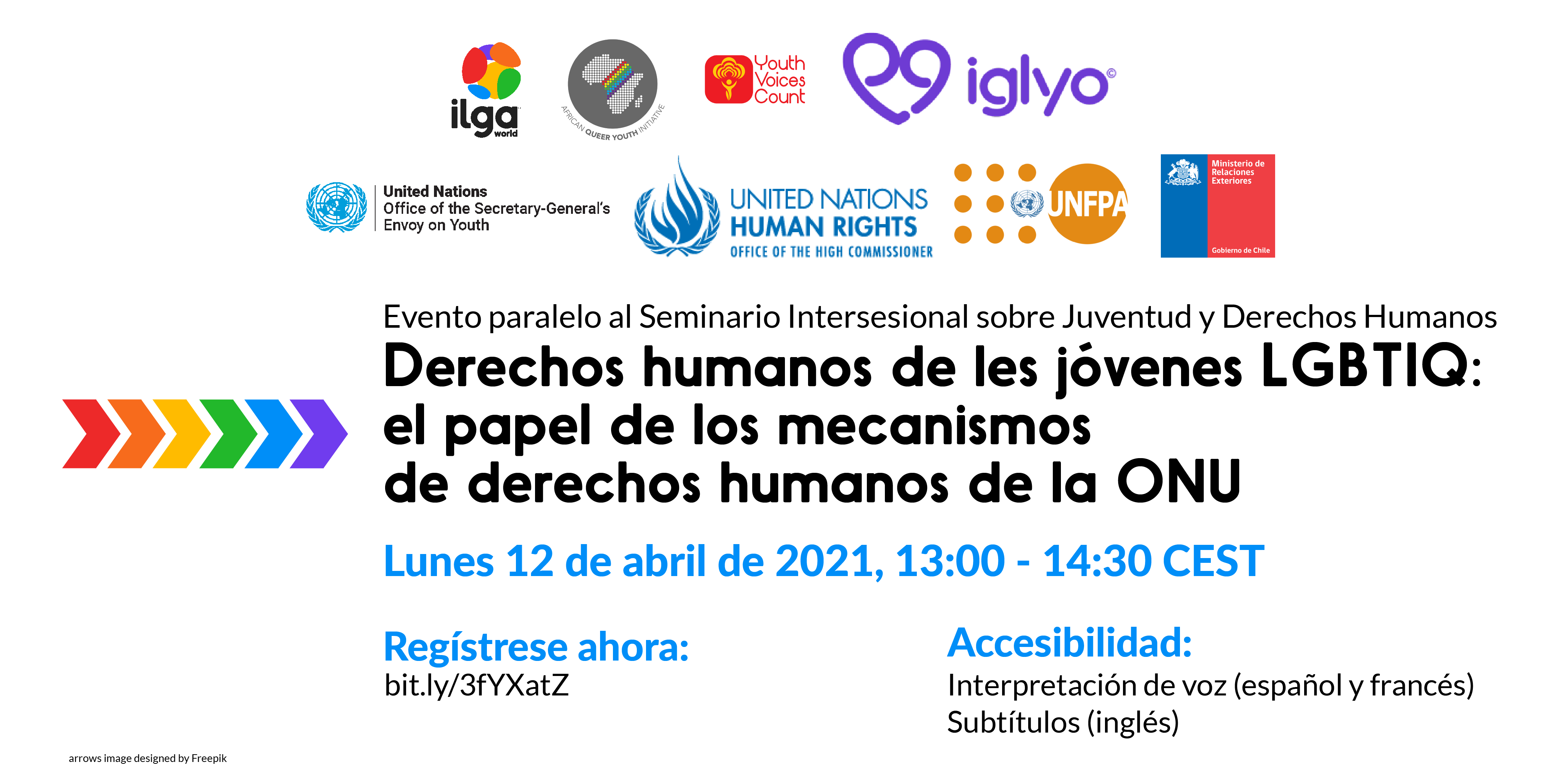 """A flyer inviting to register for the online event titled """"LGBTIQ youth human rights:  the role of UN human rights mechanisms"""""""