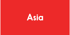 The image has a red background, and reads Asia in white colour