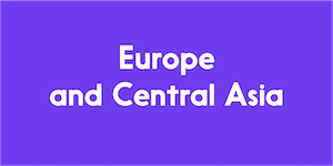 The image has a purple background, and reads Europe and Central Asia in white colour