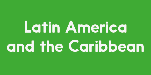 The image has a green background, and reads Latin America and Caribbean in white colour