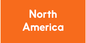 The image has a orange background, and reads North America in white colour