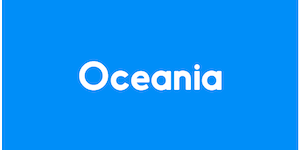 The image has a blue background, and reads Oceania in white colour