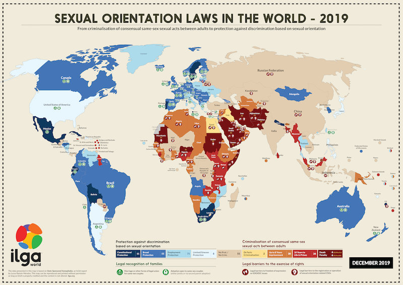 The map shows the world and how each country fares on laws affecting people on the grounds of their sexual orientation