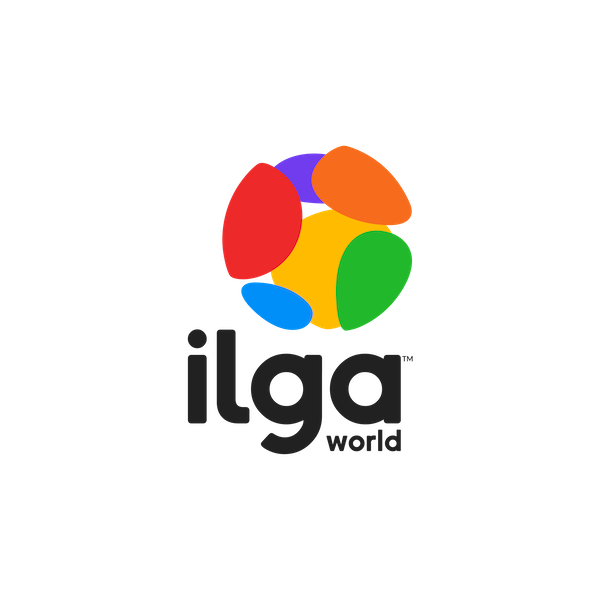 The logo of ILGA World is a globe divided into 6 parts, representing our 6 regions, each of them with a different colour of the Pride flag