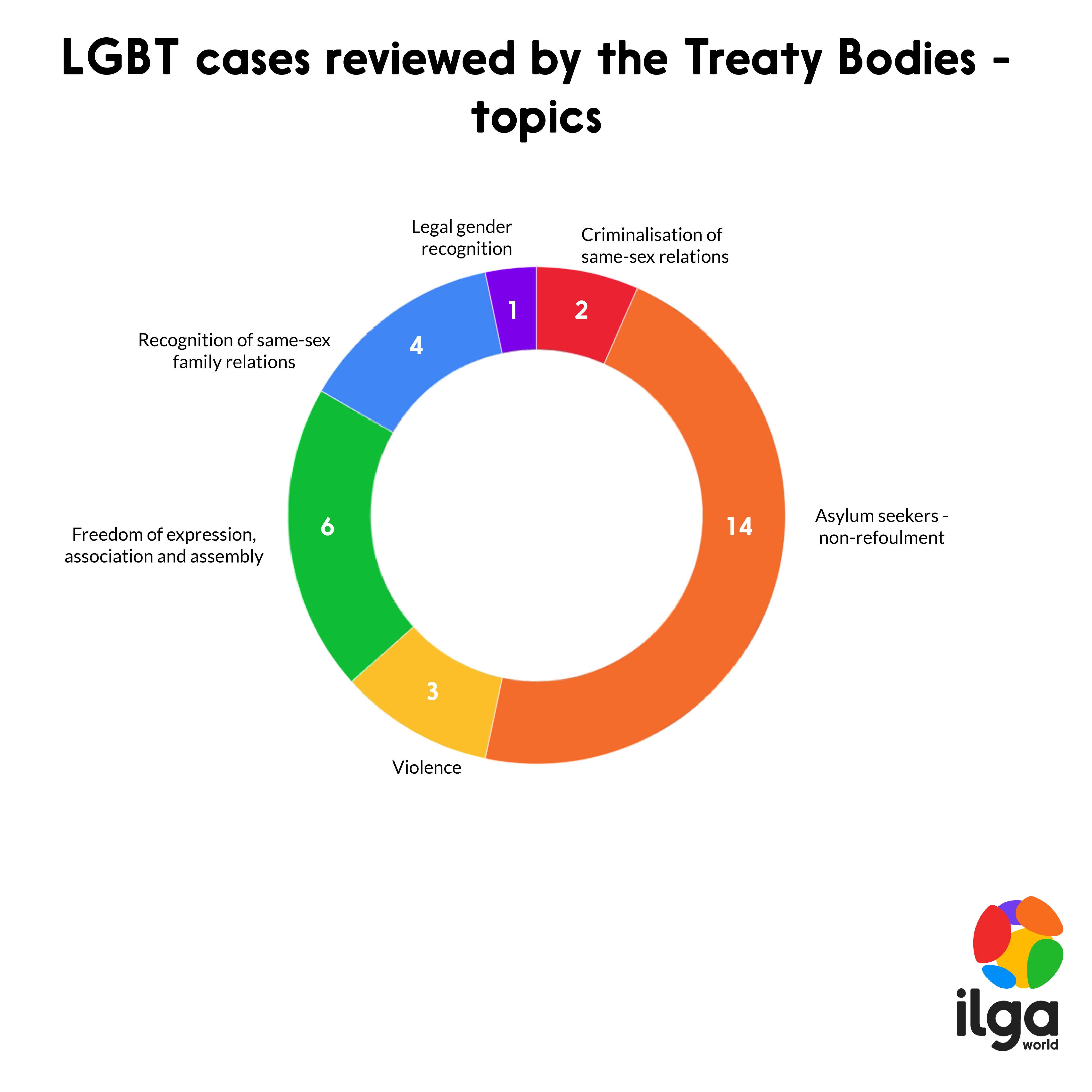 This image shows which topics were covered when the UN Treaty Bodies analysed LGBT cases