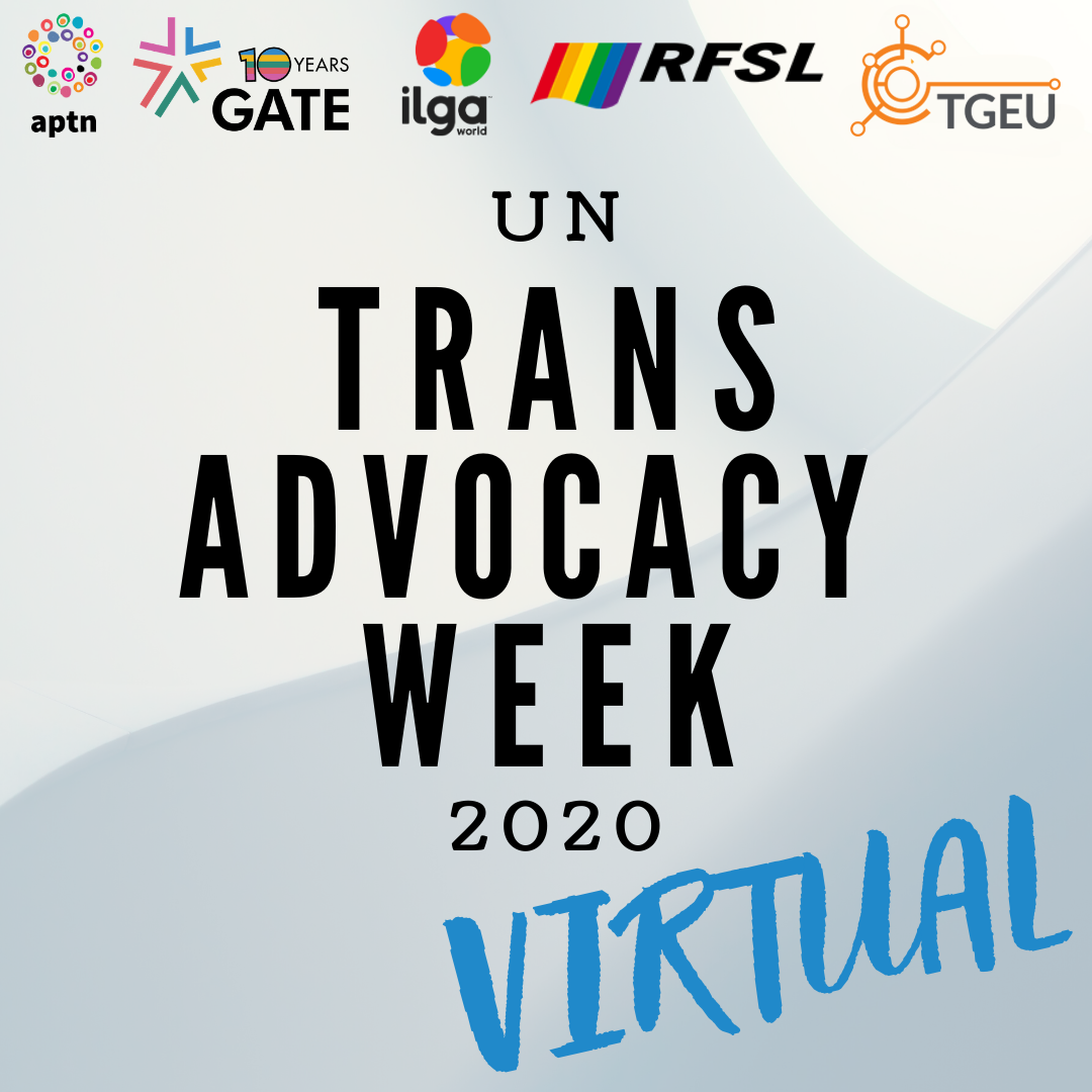 "The image has a changing grey/blue background, and reads: ""Trans Advocacy Week 2020 virtual"". It also hosts the logo of five organisations on its top"