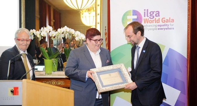 Zeid Ra'ad al Hussein receives the 'LGBTI Friend of the Year Award' during the 2017 ILGA World Gala